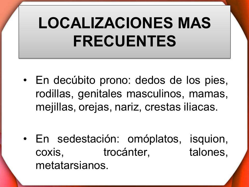 LOCALIZACIONES MAS FRECUENTES En decúbito prono: dedos de los pies, rodillas, genitales masculinos, mamas, mejillas, orejas, nariz, crestas iliacas. E