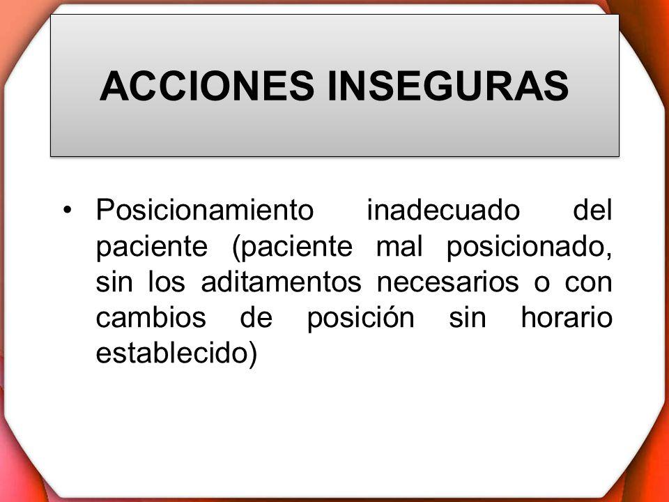 ACCIONES INSEGURAS Posicionamiento inadecuado del paciente (paciente mal posicionado, sin los aditamentos necesarios o con cambios de posición sin hor