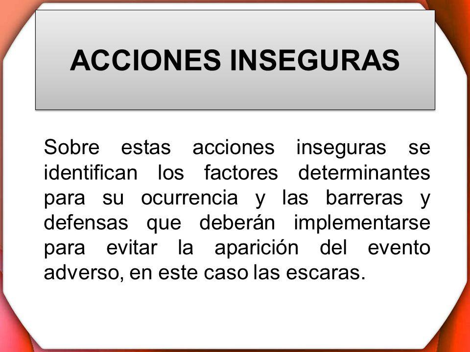 ACCIONES INSEGURAS Sobre estas acciones inseguras se identifican los factores determinantes para su ocurrencia y las barreras y defensas que deberán i