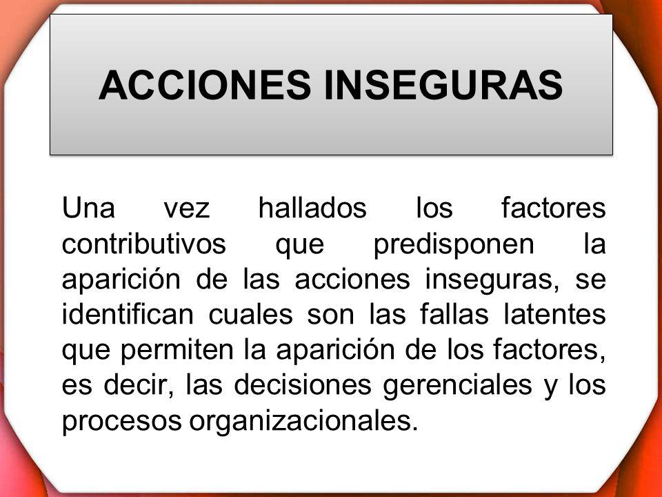 ACCIONES INSEGURAS Una vez hallados los factores contributivos que predisponen la aparición de las acciones inseguras, se identifican cuales son las f