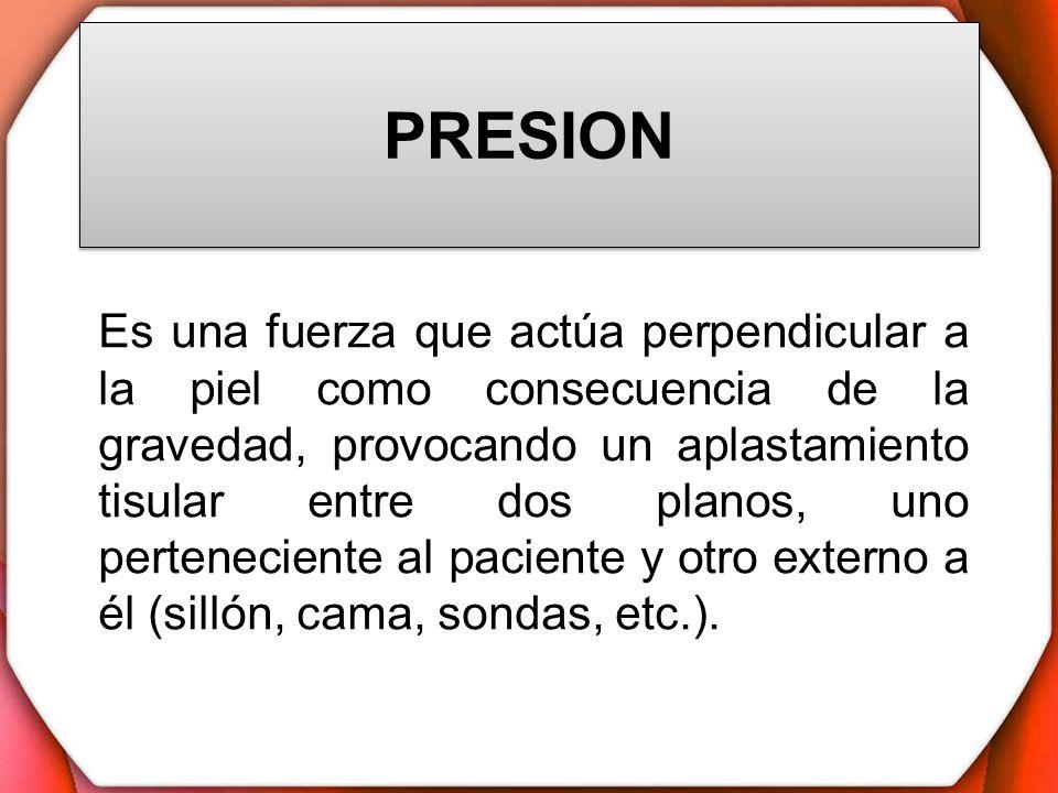 PRESION Es una fuerza que actúa perpendicular a la piel como consecuencia de la gravedad, provocando un aplastamiento tisular entre dos planos, uno pe