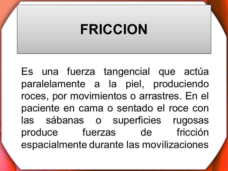 FRICCION Es una fuerza tangencial que actúa paralelamente a la piel, produciendo roces, por movimientos o arrastres. En el paciente en cama o sentado