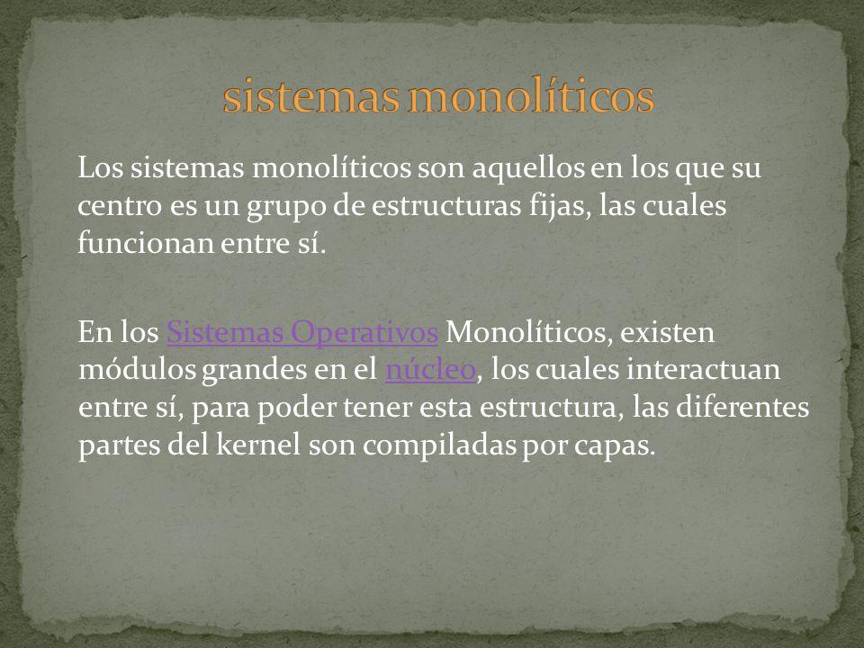 Los sistemas monolíticos son aquellos en los que su centro es un grupo de estructuras fijas, las cuales funcionan entre sí. En los Sistemas Operativos