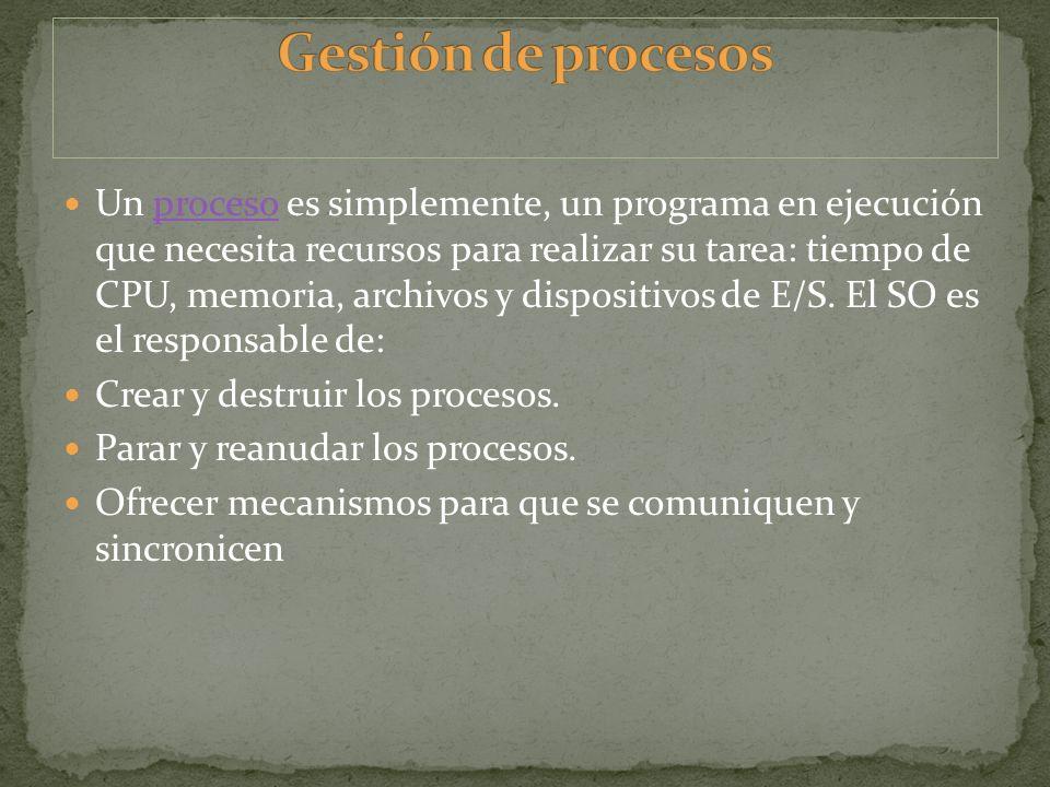 Un proceso es simplemente, un programa en ejecución que necesita recursos para realizar su tarea: tiempo de CPU, memoria, archivos y dispositivos de E