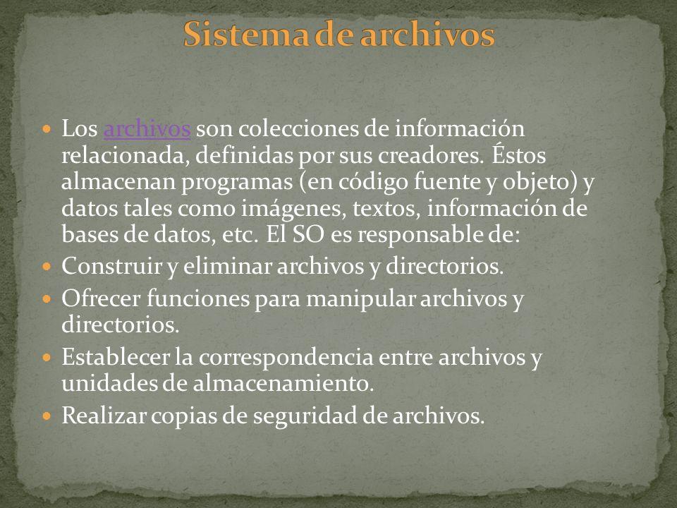 Los archivos son colecciones de información relacionada, definidas por sus creadores. Éstos almacenan programas (en código fuente y objeto) y datos ta
