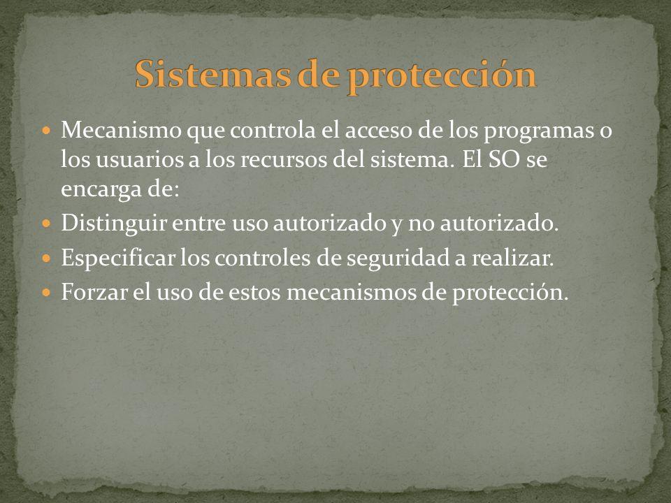 Mecanismo que controla el acceso de los programas o los usuarios a los recursos del sistema. El SO se encarga de: Distinguir entre uso autorizado y no