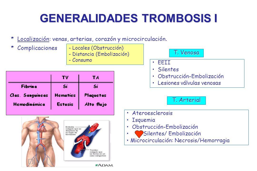 GENERALIDADES TROMBOSIS I Localización * Localización: venas, arterias, corazón y microcirculación. * Complicaciones - Locales (Obstrucción) - Distanc