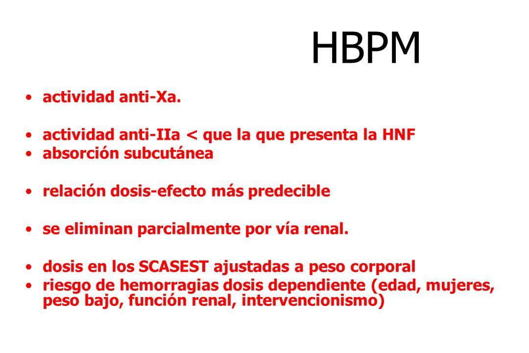 HBPM actividad anti-Xa. actividad anti-IIa < que la que presenta la HNF absorción subcutánea relación dosis-efecto más predecible se eliminan parcialm