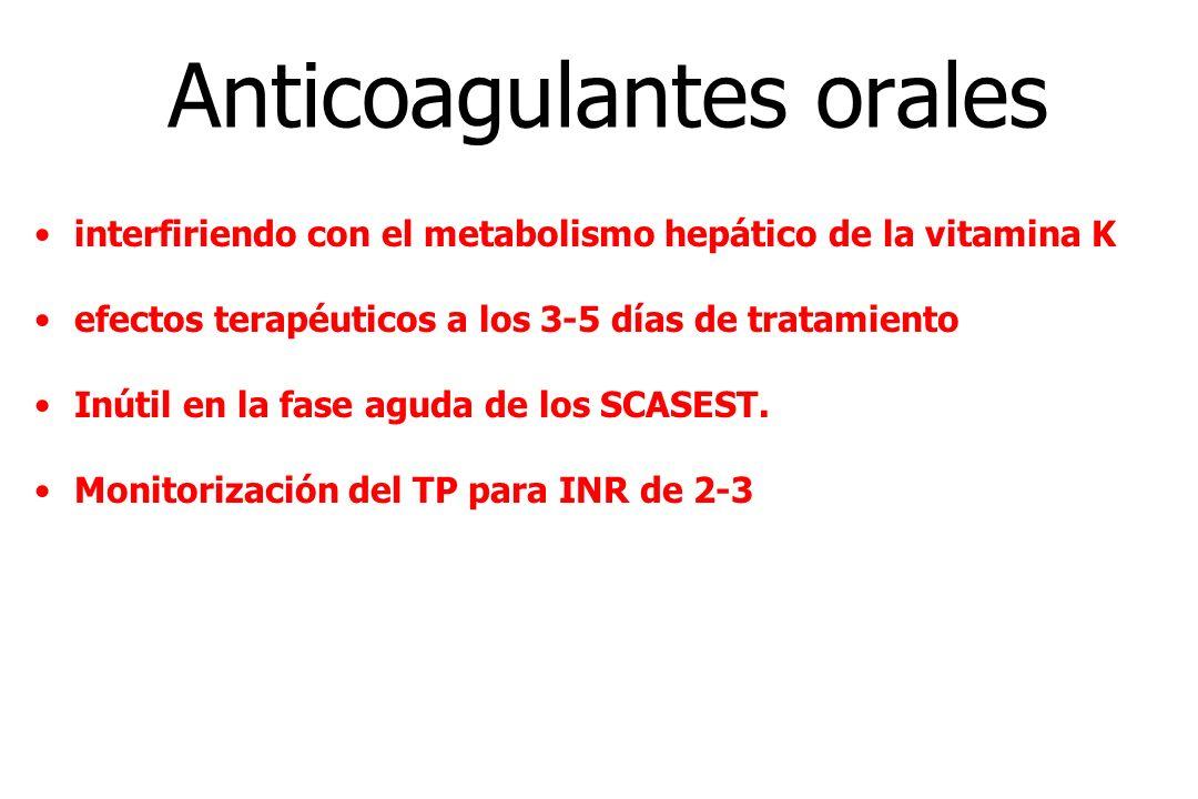 Anticoagulantes orales interfiriendo con el metabolismo hepático de la vitamina K efectos terapéuticos a los 3-5 días de tratamiento Inútil en la fase