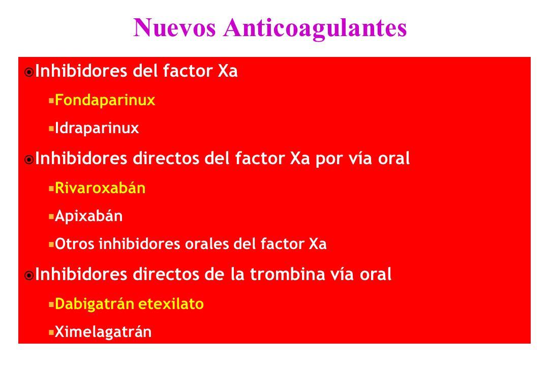 Inhibidores del factor Xa Fondaparinux Idraparinux Inhibidores directos del factor Xa por vía oral Rivaroxabán Apixabán Otros inhibidores orales del f