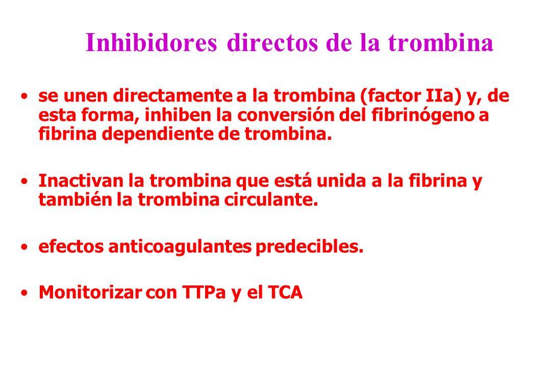 Inhibidores directos de la trombina se unen directamente a la trombina (factor IIa) y, de esta forma, inhiben la conversión del fibrinógeno a fibrina