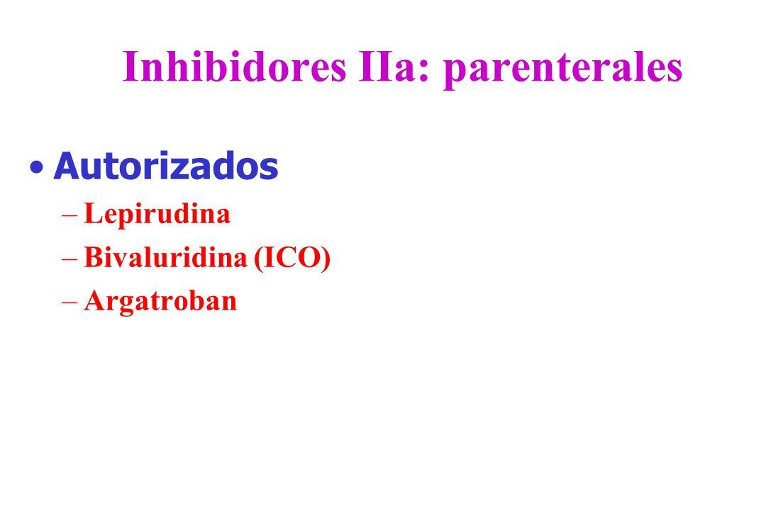 Inhibidores IIa: parenterales Autorizados –Lepirudina –Bivaluridina (ICO) –Argatroban