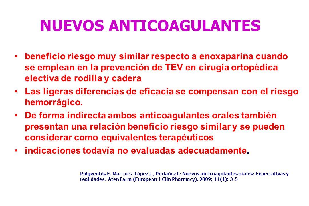 NUEVOS ANTICOAGULANTES beneficio riesgo muy similar respecto a enoxaparina cuando se emplean en la prevención de TEV en cirugía ortopédica electiva de
