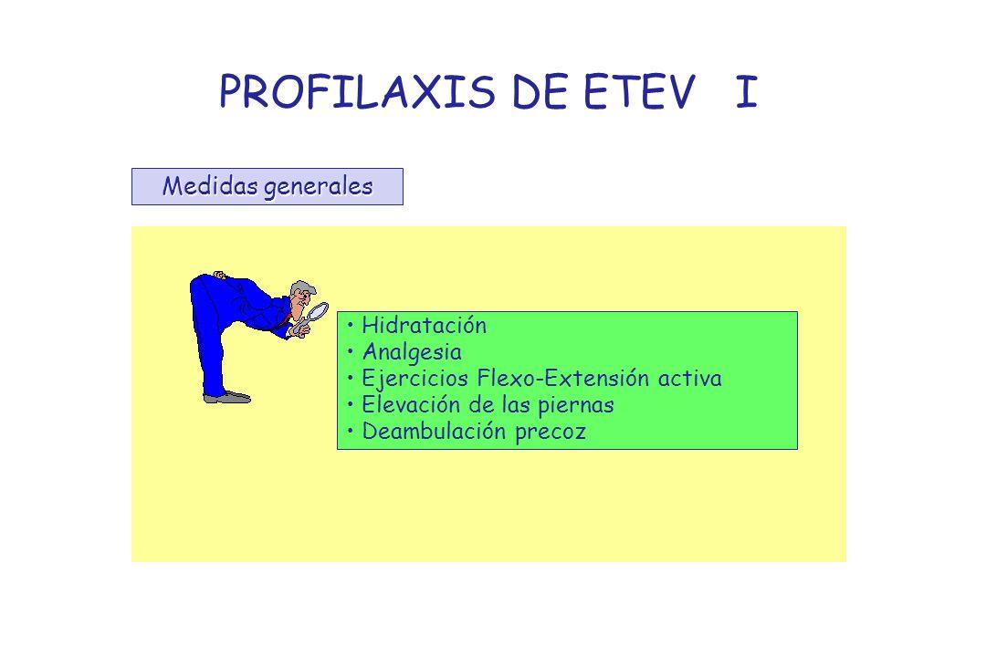 PROFILAXIS DE ETEV I Medidas generales Hidratación Analgesia Ejercicios Flexo-Extensión activa Elevación de las piernas Deambulación precoz
