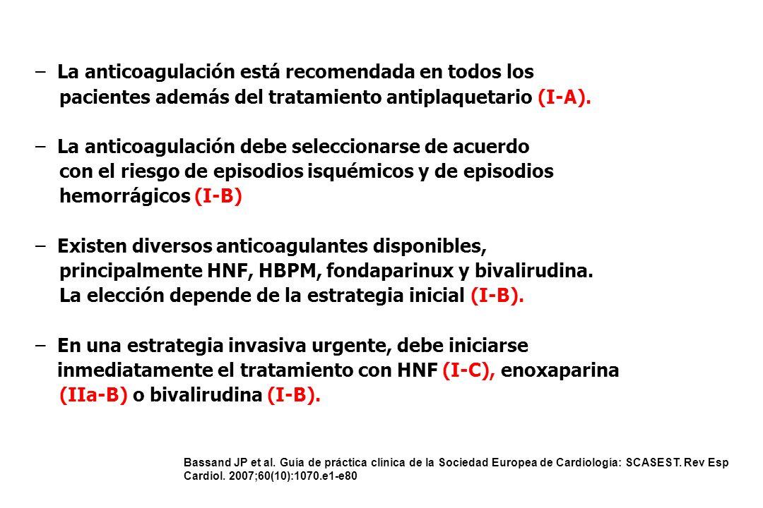 Bassand JP et al. Guía de práctica clínica de la Sociedad Europea de Cardiología: SCASEST. Rev Esp Cardiol. 2007;60(10):1070.e1-e80 Guías de la ESC en