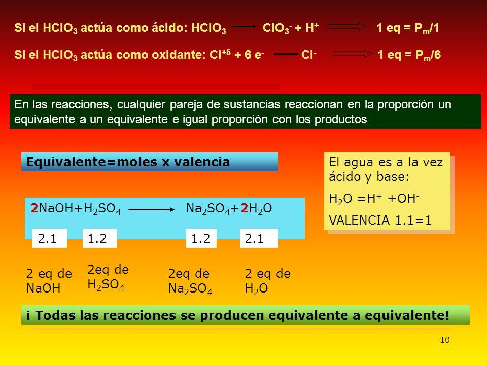 10 En las reacciones, cualquier pareja de sustancias reaccionan en la proporción un equivalente a un equivalente e igual proporción con los productos