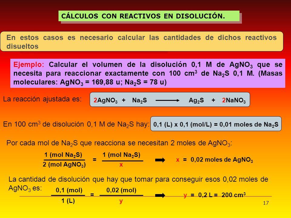 17 CÁLCULOS CON REACTIVOS EN DISOLUCIÓN. En estos casos es necesario calcular las cantidades de dichos reactivos disueltos Ejemplo: Calcular el volume