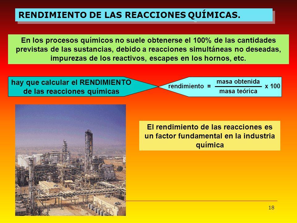 18 RENDIMIENTO DE LAS REACCIONES QUÍMICAS. En los procesos químicos no suele obtenerse el 100% de las cantidades previstas de las sustancias, debido a