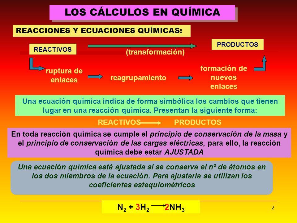 2 LOS CÁLCULOS EN QUÍMICA REACCIONES Y ECUACIONES QUÍMICAS: REACTIVOS (transformación) formación de nuevos enlaces reagrupamiento ruptura de enlaces N