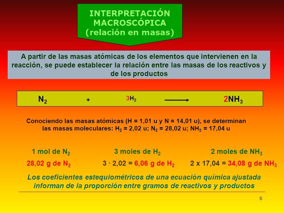 6 1 mol de N 2 3 moles de H 2 2 moles de NH 3 Los coeficientes estequiométricos de una ecuación química ajustada informan de la proporción entre gramo