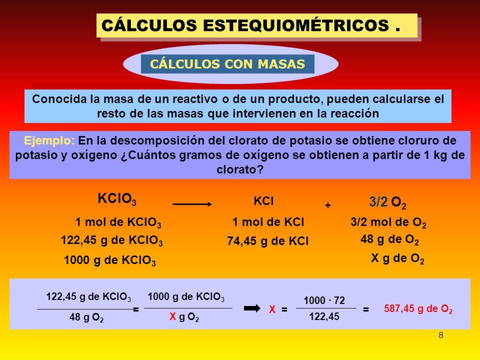8 CÁLCULOS ESTEQUIOMÉTRICOS. Conocida la masa de un reactivo o de un producto, pueden calcularse el resto de las masas que intervienen en la reacción