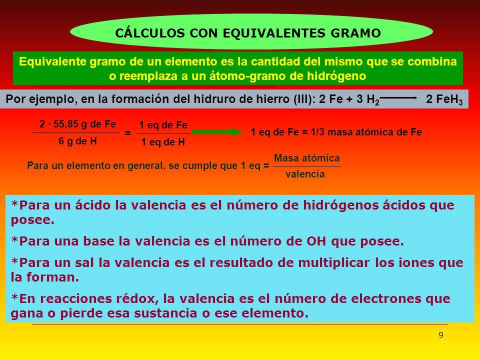9 Equivalente gramo de un elemento es la cantidad del mismo que se combina o reemplaza a un átomo-gramo de hidrógeno Por ejemplo, en la formación del