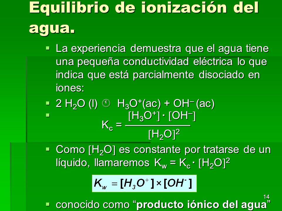 14 Equilibrio de ionización del agua. La experiencia demuestra que el agua tiene una pequeña conductividad eléctrica lo que indica que está parcialmen