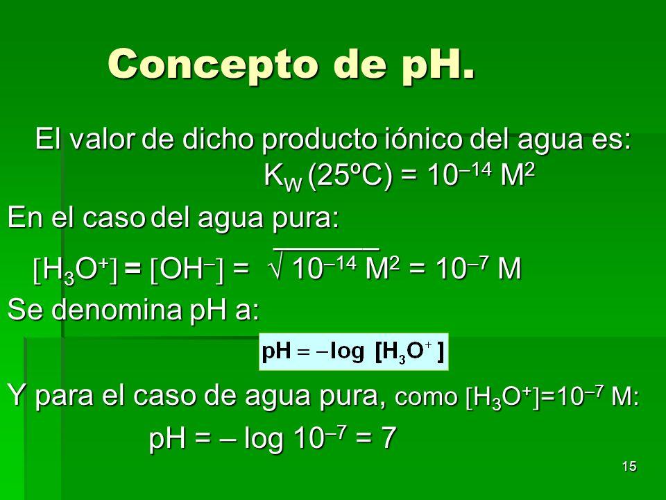 15 Concepto de pH. El valor de dicho producto iónico del agua es: K W (25ºC) = 10 –14 M 2 En el caso del agua pura: – H 3 O + = OH – = 10 –14 M 2 = 10
