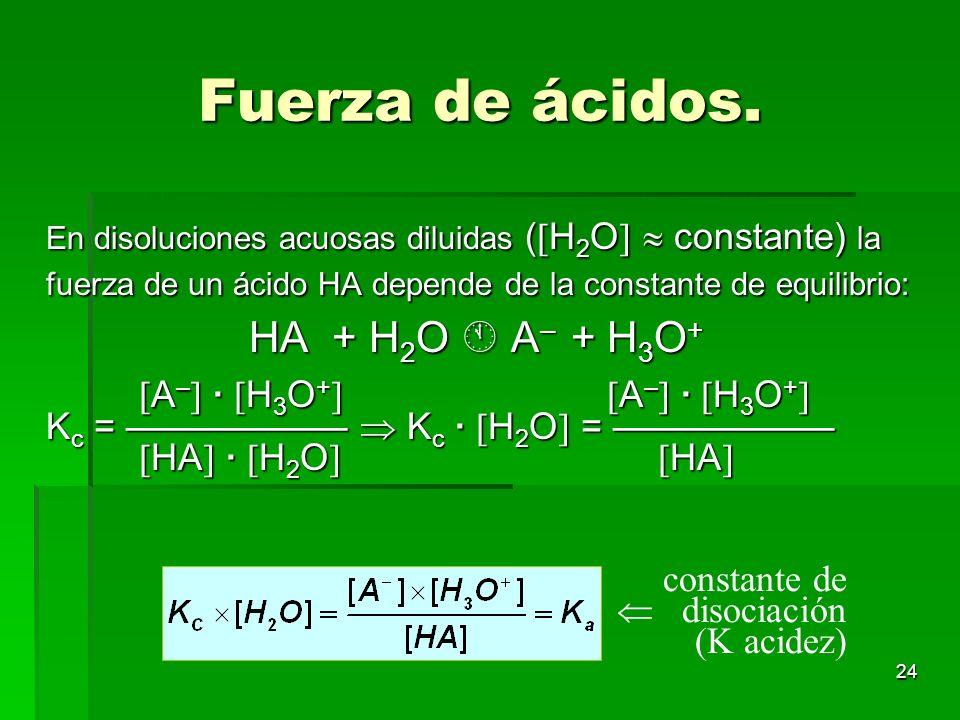 24 Fuerza de ácidos. En disoluciones acuosas diluidas ( H 2 O constante) la fuerza de un ácido HA depende de la constante de equilibrio: HA + H 2 O A