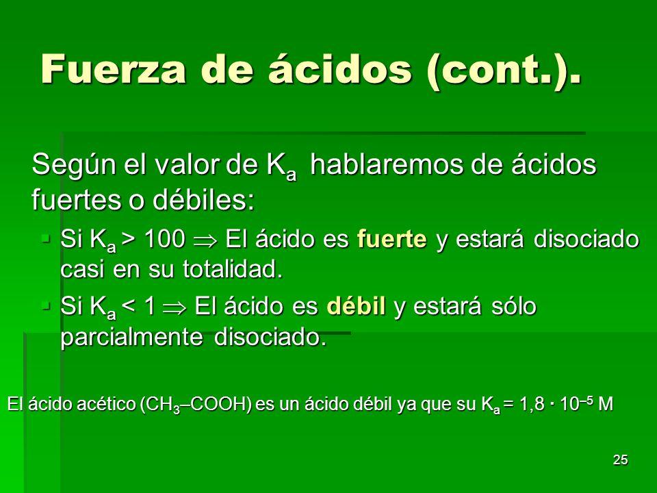 25 Fuerza de ácidos (cont.). Según el valor de K a hablaremos de ácidos fuertes o débiles: Si K a > 100 El ácido es fuerte y estará disociado casi en