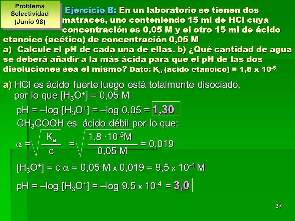 37 Ejercicio B: En un laboratorio se tienen dos matraces, uno conteniendo 15 ml de HCl cuya concentración es 0,05 M y el otro 15 ml de ácido etanoico