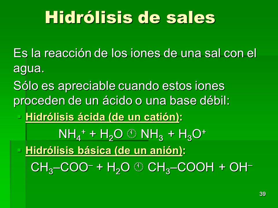 39 Hidrólisis de sales Es la reacción de los iones de una sal con el agua. Sólo es apreciable cuando estos iones proceden de un ácido o una base débil