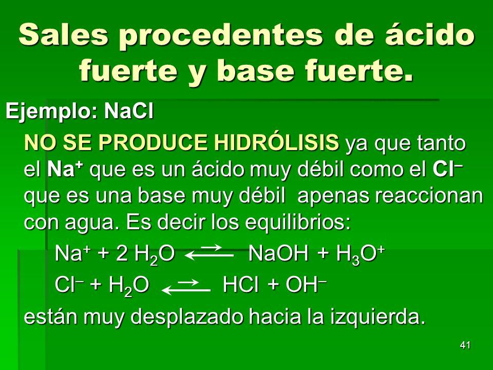 41 Sales procedentes de ácido fuerte y base fuerte. Ejemplo: NaCl NO SE PRODUCE HIDRÓLISIS ya que tanto el Na + que es un ácido muy débil como el Cl –