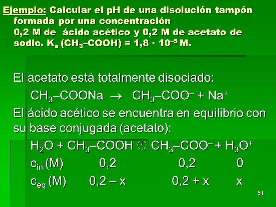 51 Ejemplo: Calcular el pH de una disolución tampón formada por una concentración 0,2 M de ácido acético y 0,2 M de acetato de sodio. K a (CH 3 –COOH)