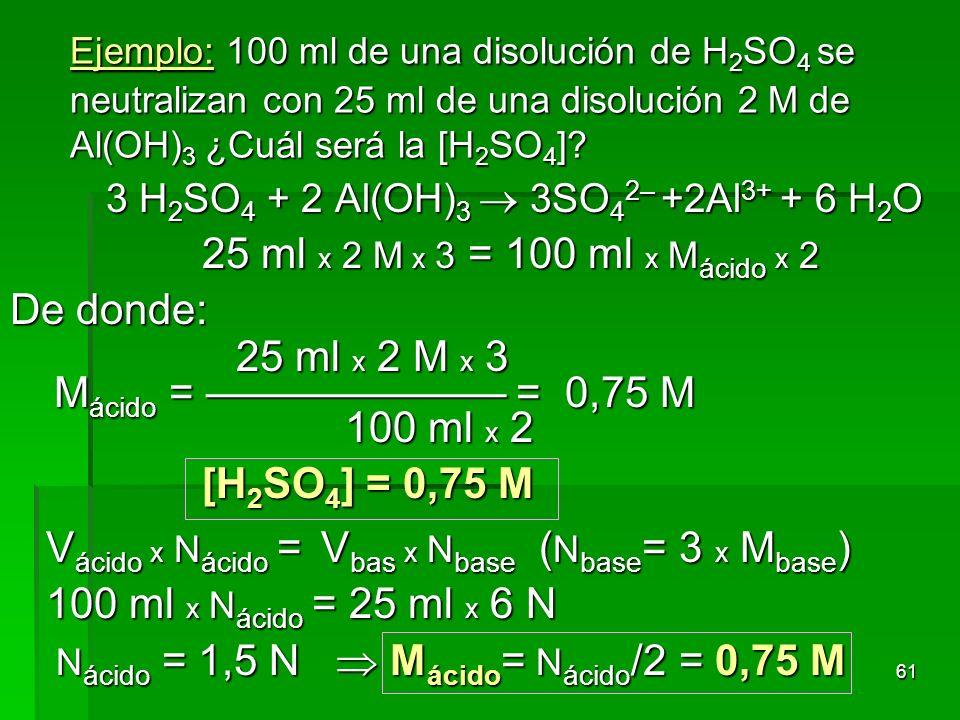 61 Ejemplo: 100 ml de una disolución de H 2 SO 4 se neutralizan con 25 ml de una disolución 2 M de Al(OH) 3 ¿Cuál será la [H 2 SO 4 ]? 3 H 2 SO 4 + 2