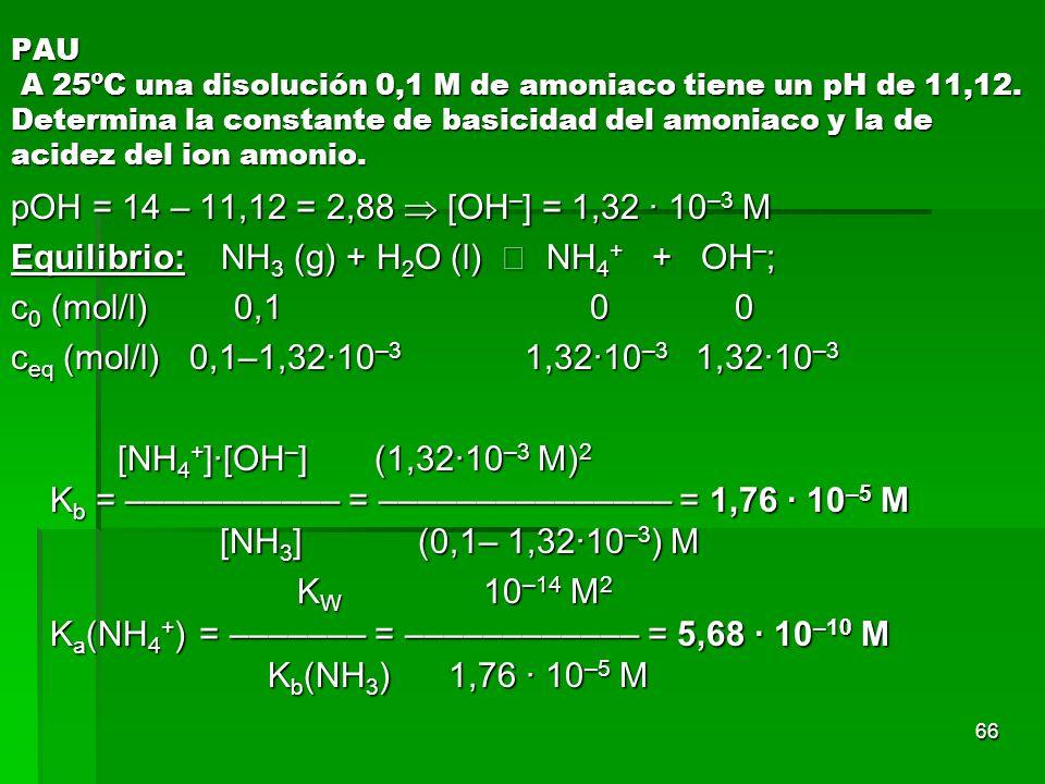 66 PAU A 25ºC una disolución 0,1 M de amoniaco tiene un pH de 11,12. Determina la constante de basicidad del amoniaco y la de acidez del ion amonio. p