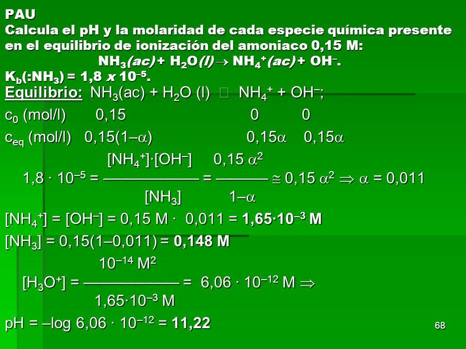 68 PAU Calcula el pH y la molaridad de cada especie química presente en el equilibrio de ionización del amoniaco 0,15 M: NH 3 (ac) + H 2 O(l) NH 4 + (