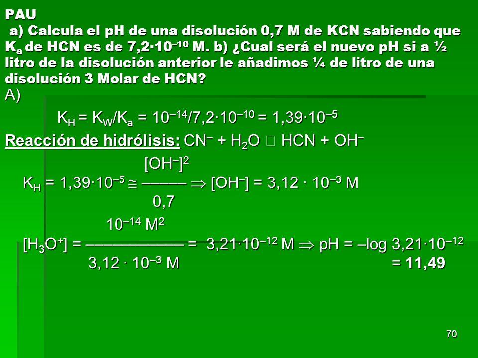 70 PAU a) Calcula el pH de una disolución 0,7 M de KCN sabiendo que K a de HCN es de 7,2·10 –10 M. b) ¿Cual será el nuevo pH si a ½ litro de la disolu