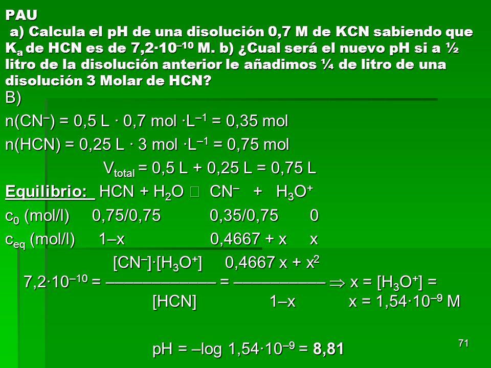 71 PAU a) Calcula el pH de una disolución 0,7 M de KCN sabiendo que K a de HCN es de 7,2·10 –10 M. b) ¿Cual será el nuevo pH si a ½ litro de la disolu