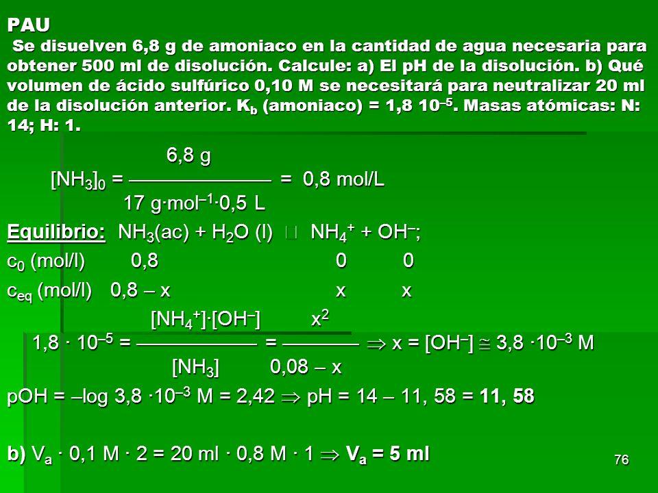 76 PAU Se disuelven 6,8 g de amoniaco en la cantidad de agua necesaria para obtener 500 ml de disolución. Calcule: a) El pH de la disolución. b) Qué v