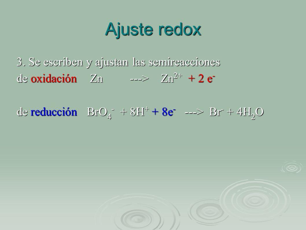 Ajuste redox 3. Se escriben y ajustan las semireacciones de oxidación Zn ---> Zn 2+ + 2 e - de reducción BrO 4 - + 8H + + 8e - ---> Br - + 4H 2 O