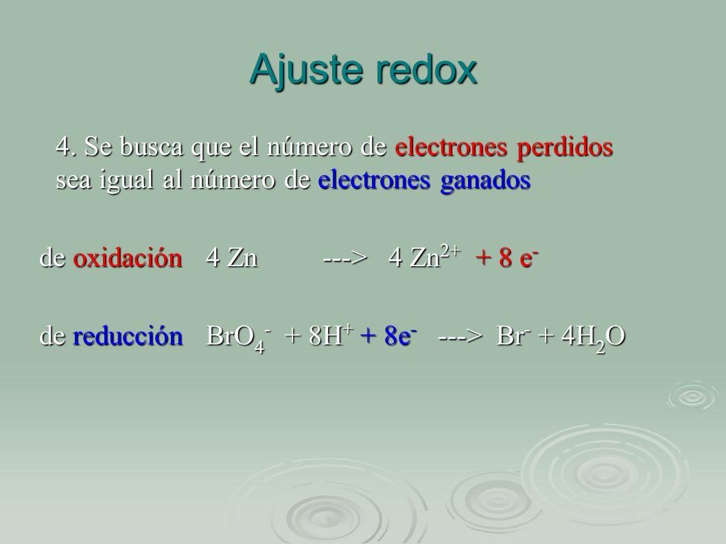 Ajuste redox 4. Se busca que el número de electrones perdidos sea igual al número de electrones ganados de oxidación 4 Zn ---> 4 Zn 2+ + 8 e - de redu