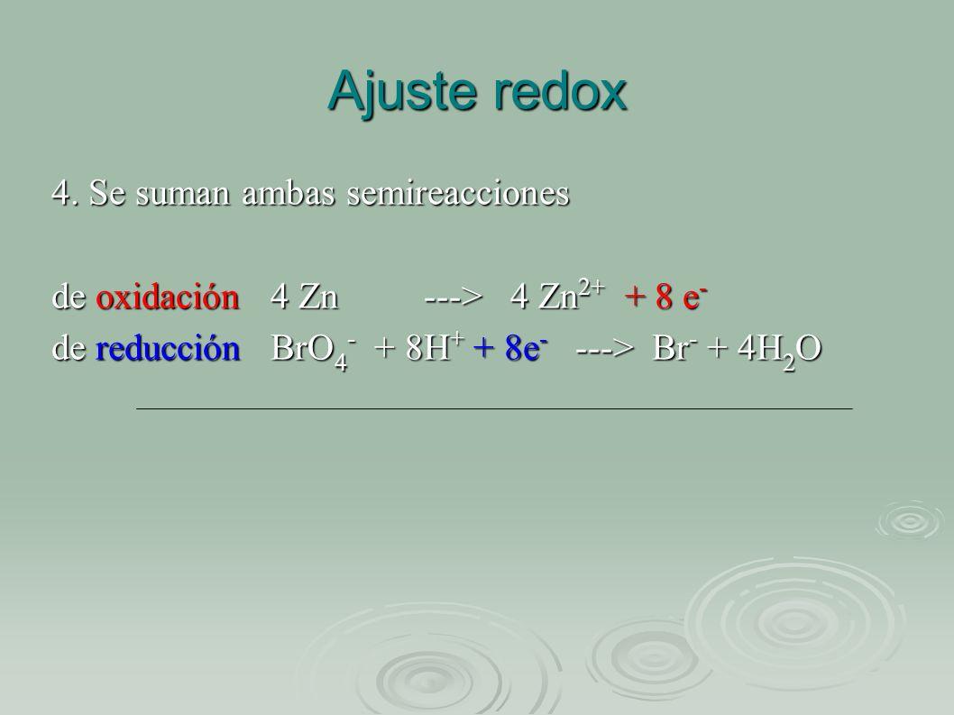 Ajuste redox 4. Se suman ambas semireacciones de oxidación 4 Zn ---> 4 Zn 2+ + 8 e - de reducción BrO 4 - + 8H + + 8e - ---> Br - + 4H 2 O