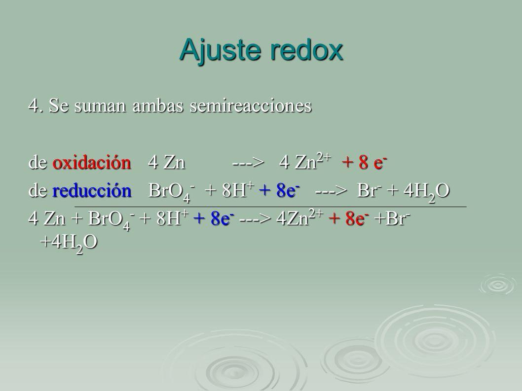 Ajuste redox 4. Se suman ambas semireacciones de oxidación 4 Zn ---> 4 Zn 2+ + 8 e - de reducción BrO 4 - + 8H + + 8e - ---> Br - + 4H 2 O 4 Zn + BrO