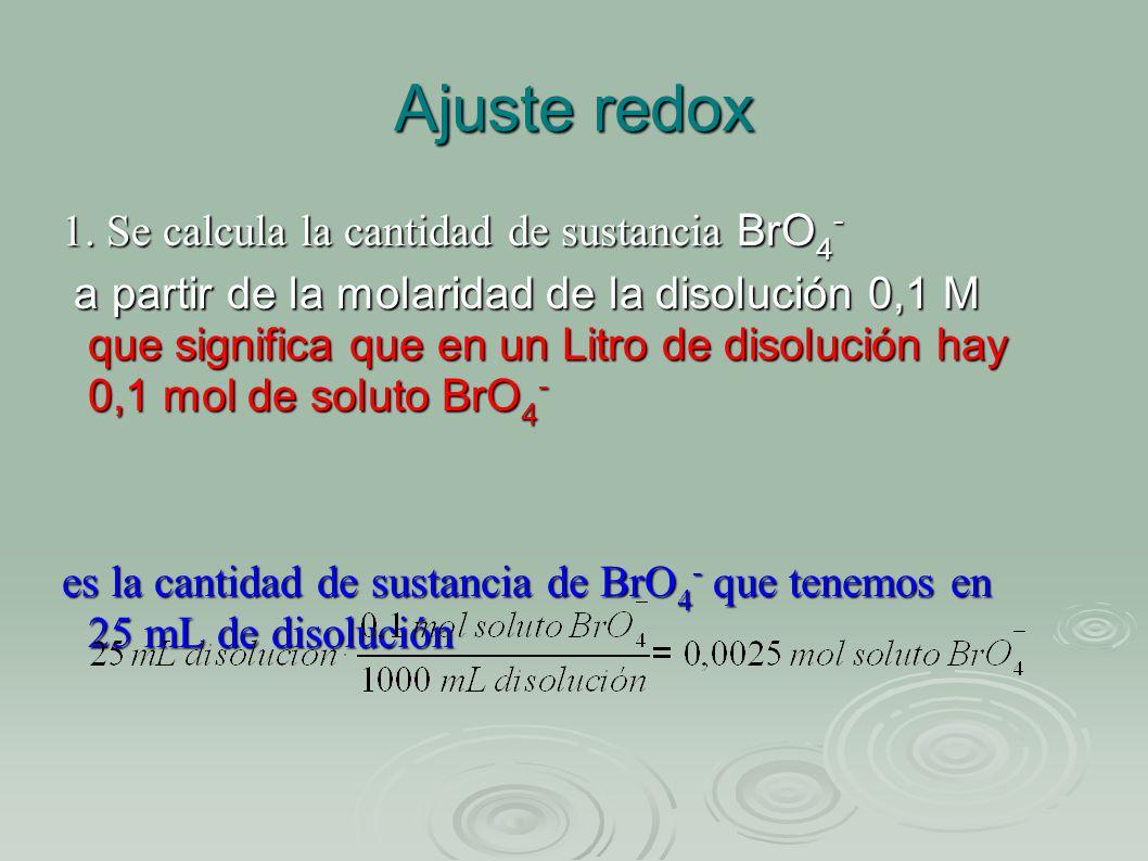 Ajuste redox 1. Se calcula la cantidad de sustancia BrO 4 - a partir de la molaridad de la disolución 0,1 M que significa que en un Litro de disolució