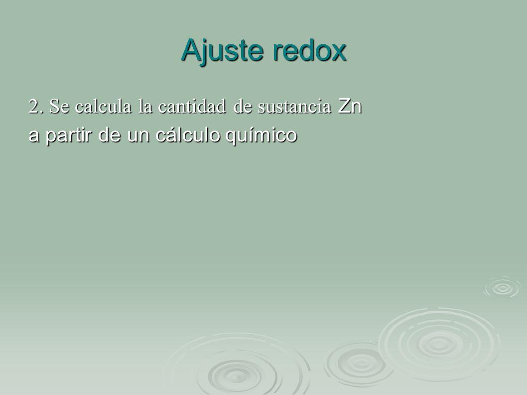 Ajuste redox 2. Se calcula la cantidad de sustancia Zn a partir de un cálculo químico