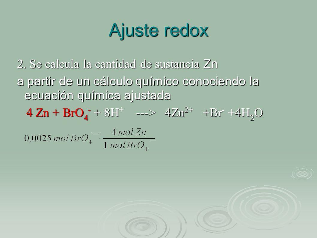 Ajuste redox 2. Se calcula la cantidad de sustancia Zn a partir de un cálculo químico conociendo la ecuación química ajustada 4 Zn + BrO 4 - + 8H + --