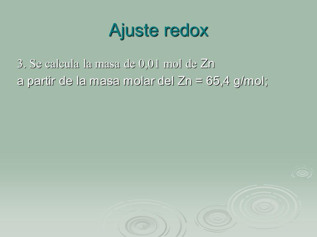 Ajuste redox 3. Se calcula la masa de 0,01 mol de Zn a partir de la masa molar del Zn = 65,4 g/mol;