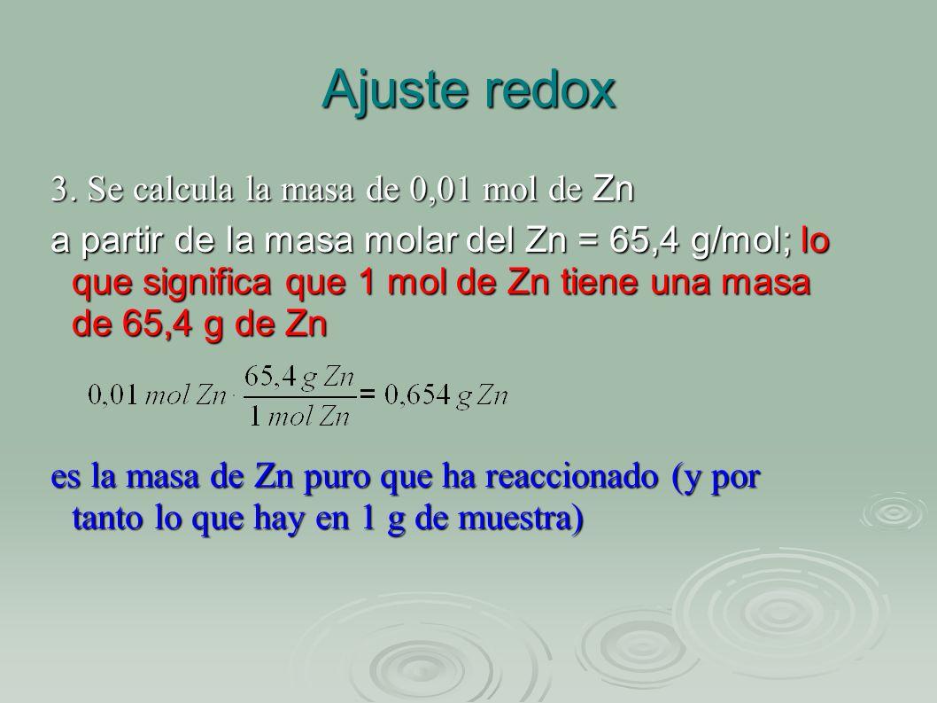 Ajuste redox 3. Se calcula la masa de 0,01 mol de Zn a partir de la masa molar del Zn = 65,4 g/mol; lo que significa que 1 mol de Zn tiene una masa de