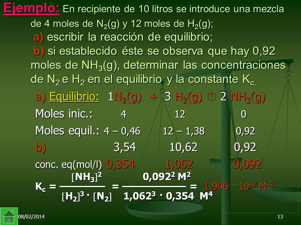08/02/201413 Ejemplo: En recipiente de 10 litros se introduce una mezcla de 4 moles de N 2 (g) y 12 moles de H 2 (g); a) escribir la reacción de equilibrio; b) si establecido éste se observa que hay 0,92 moles de NH 3 (g), determinar las concentraciones de N 2 e H 2 en el equilibrio y la constante K c.